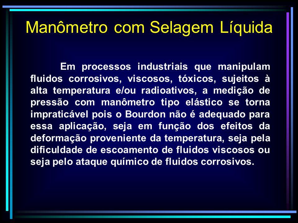 Manômetro com Selagem Líquida Em processos industriais que manipulam fluidos corrosivos, viscosos, tóxicos, sujeitos à alta temperatura e/ou radioativ