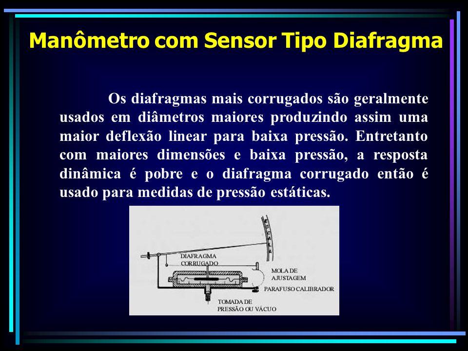 Os diafragmas mais corrugados são geralmente usados em diâmetros maiores produzindo assim uma maior deflexão linear para baixa pressão. Entretanto com
