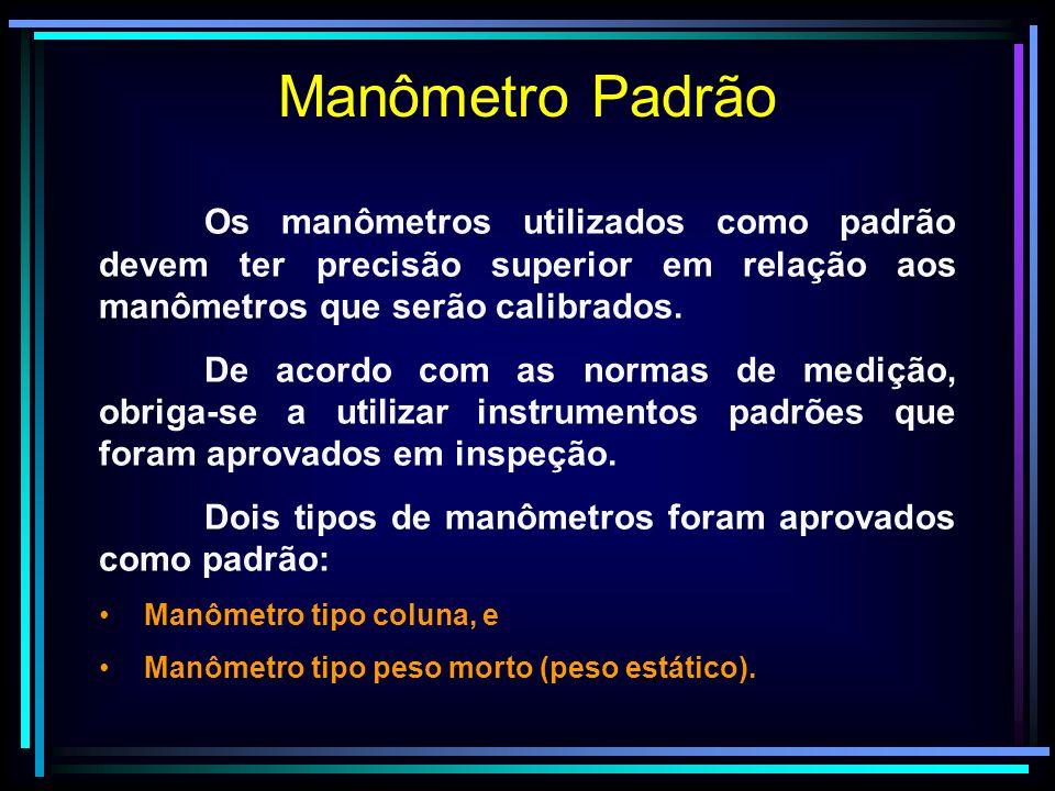 Manômetro Padrão Os manômetros utilizados como padrão devem ter precisão superior em relação aos manômetros que serão calibrados. De acordo com as nor