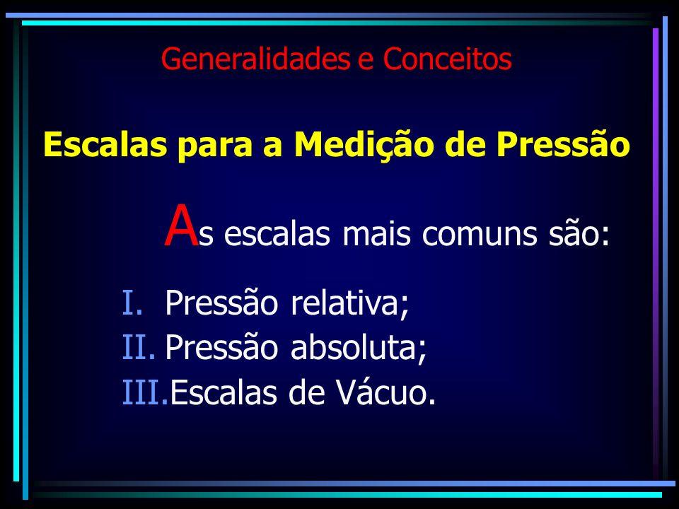 Generalidades e Conceitos Escalas para a Medição de Pressão A s escalas mais comuns são: I.Pressão relativa; II.Pressão absoluta; III.Escalas de Vácuo