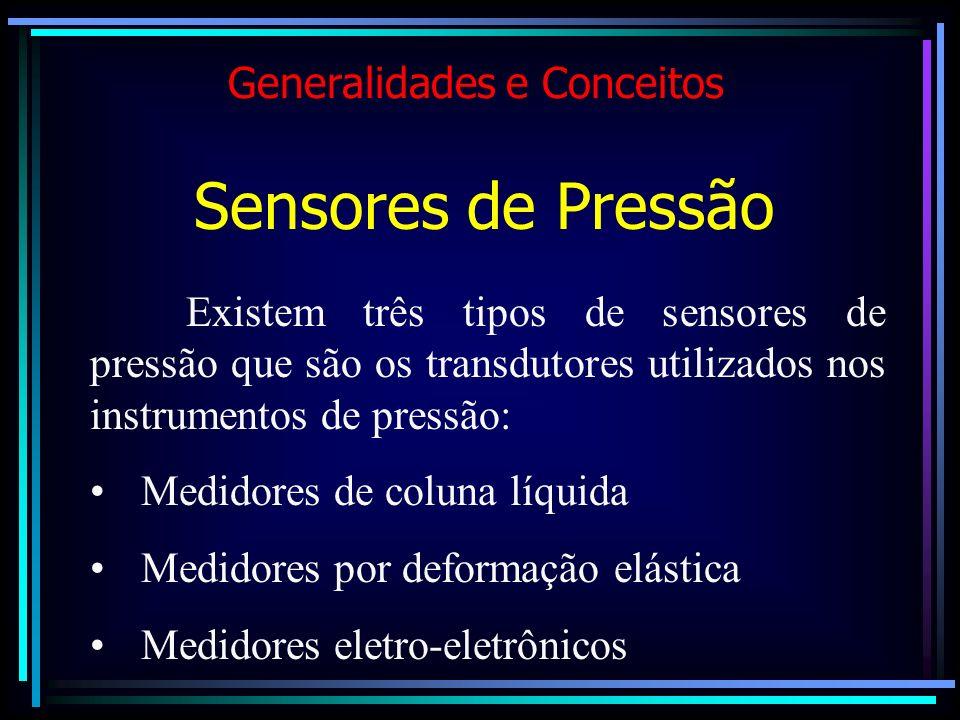 Existem três tipos de sensores de pressão que são os transdutores utilizados nos instrumentos de pressão: Medidores de coluna líquida Medidores por de
