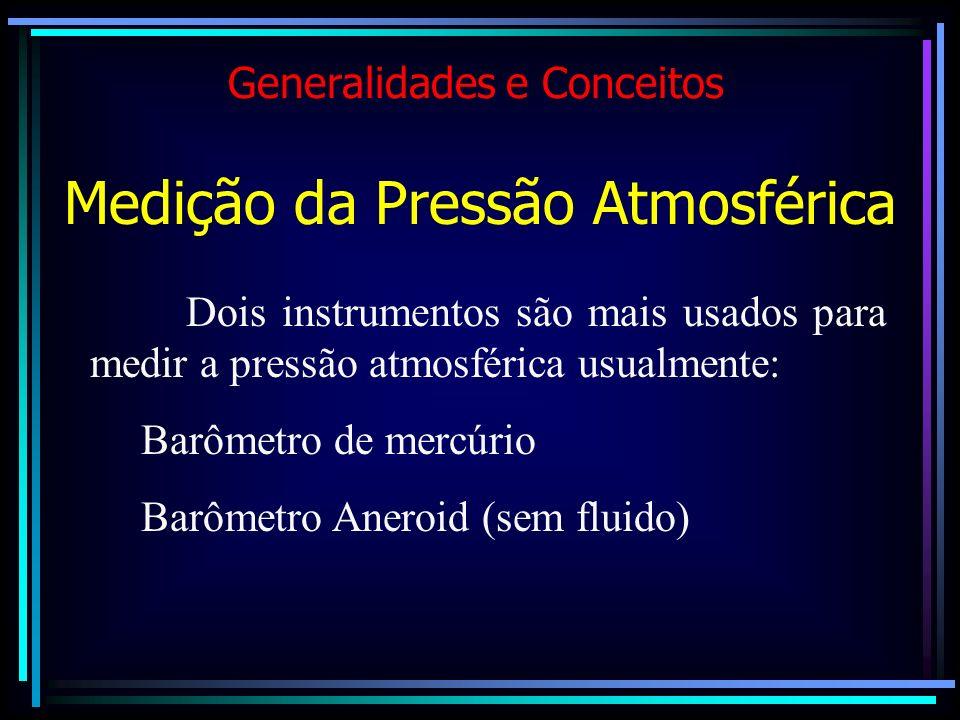 Dois instrumentos são mais usados para medir a pressão atmosférica usualmente: Barômetro de mercúrio Barômetro Aneroid (sem fluido) Medição da Pressão