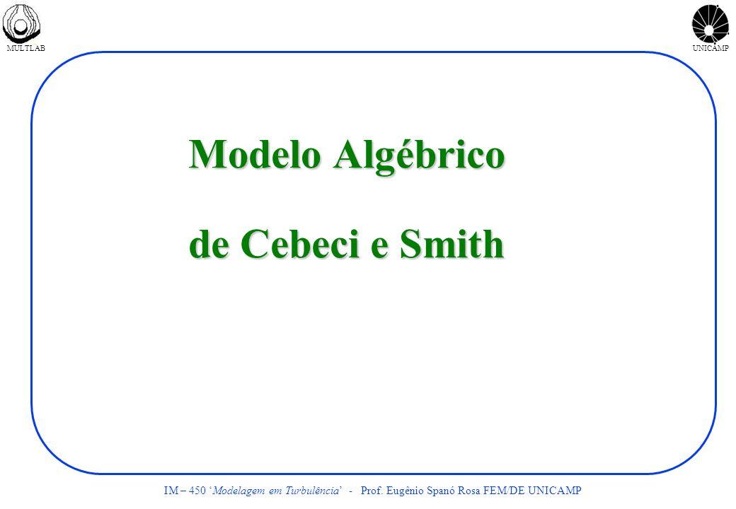 MULTLABUNICAMP IM – 450 Modelagem em Turbulência - Prof. Eugênio Spanó Rosa FEM/DE UNICAMP Modelo Algébrico de Cebeci e Smith
