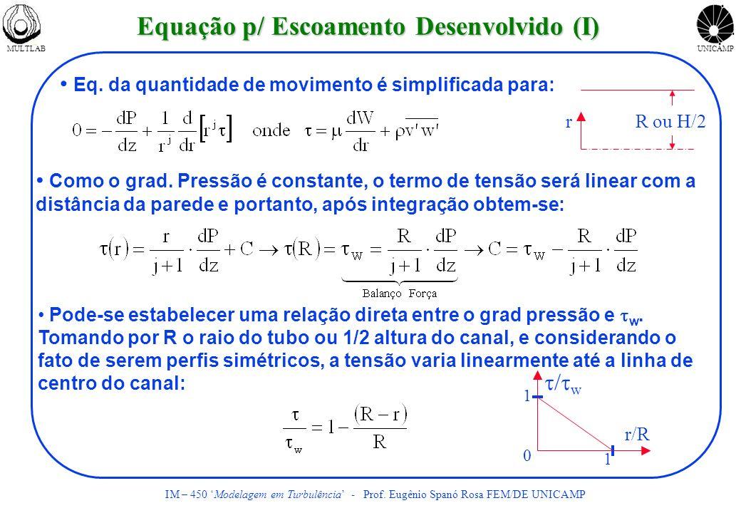 MULTLABUNICAMP IM – 450 Modelagem em Turbulência - Prof. Eugênio Spanó Rosa FEM/DE UNICAMP Eq. da quantidade de movimento é simplificada para: Como o