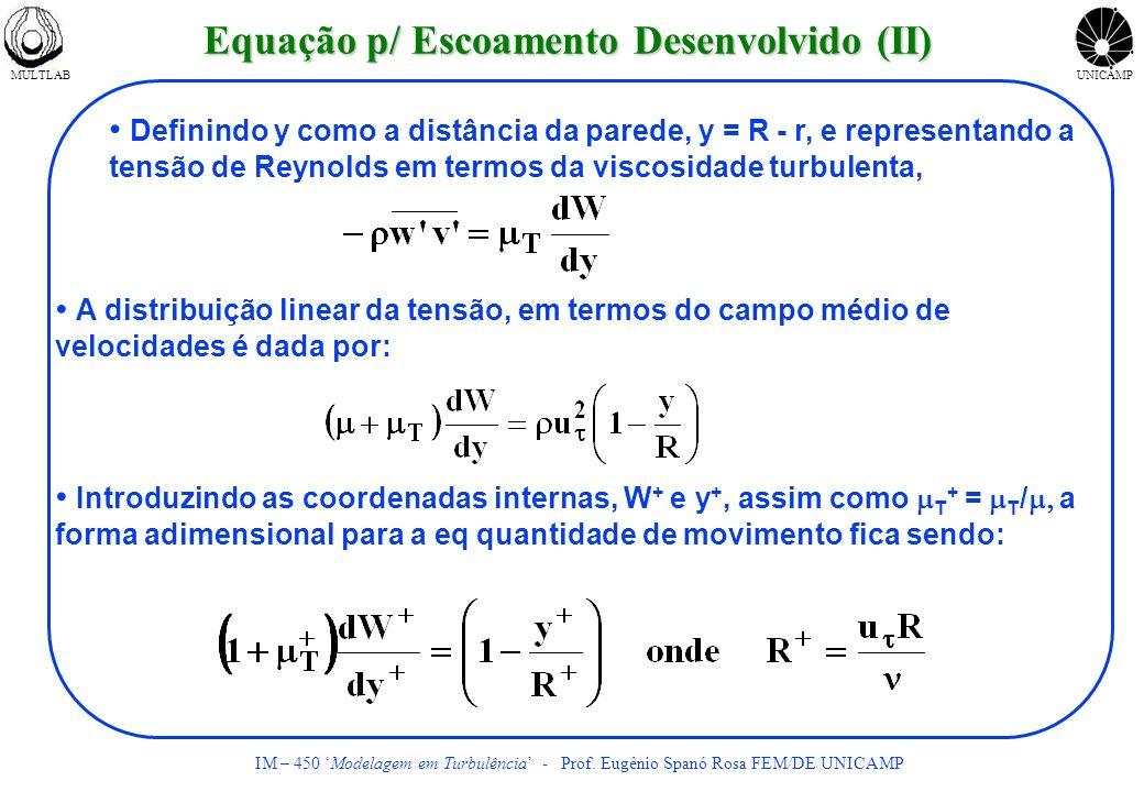 MULTLABUNICAMP IM – 450 Modelagem em Turbulência - Prof. Eugênio Spanó Rosa FEM/DE UNICAMP Definindo y como a distância da parede, y = R - r, e repres