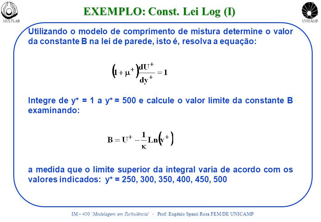 MULTLABUNICAMP IM – 450 Modelagem em Turbulência - Prof. Eugênio Spanó Rosa FEM/DE UNICAMP Utilizando o modelo de comprimento de mistura determine o v