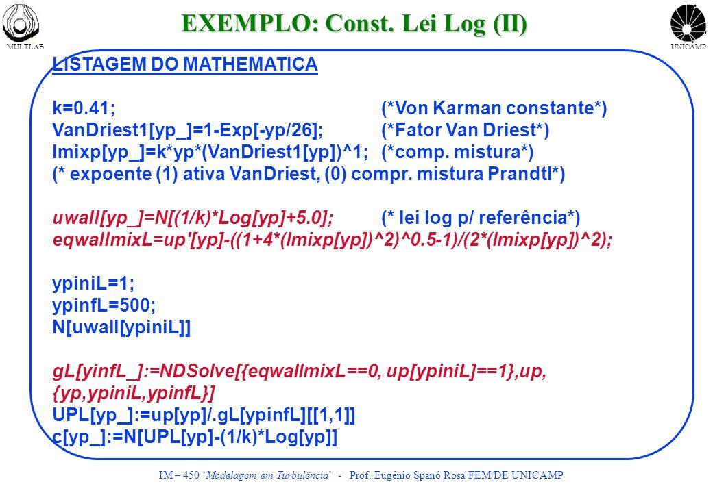 MULTLABUNICAMP IM – 450 Modelagem em Turbulência - Prof. Eugênio Spanó Rosa FEM/DE UNICAMP LISTAGEM DO MATHEMATICA k=0.41;(*Von Karman constante*) Van