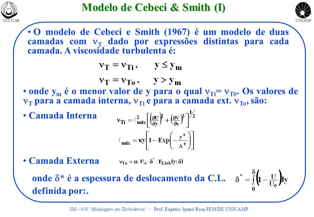 MULTLABUNICAMP IM – 450 Modelagem em Turbulência - Prof. Eugênio Spanó Rosa FEM/DE UNICAMP Modelo de Cebeci & Smith (I) O modelo de Cebeci e Smith (19
