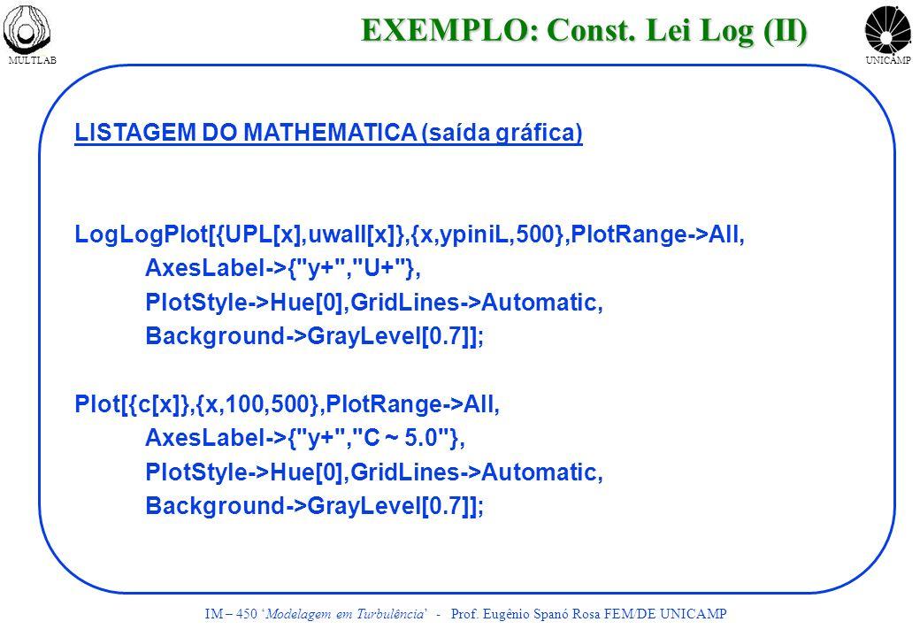 MULTLABUNICAMP IM – 450 Modelagem em Turbulência - Prof. Eugênio Spanó Rosa FEM/DE UNICAMP LISTAGEM DO MATHEMATICA (saída gráfica) LogLogPlot[{UPL[x],