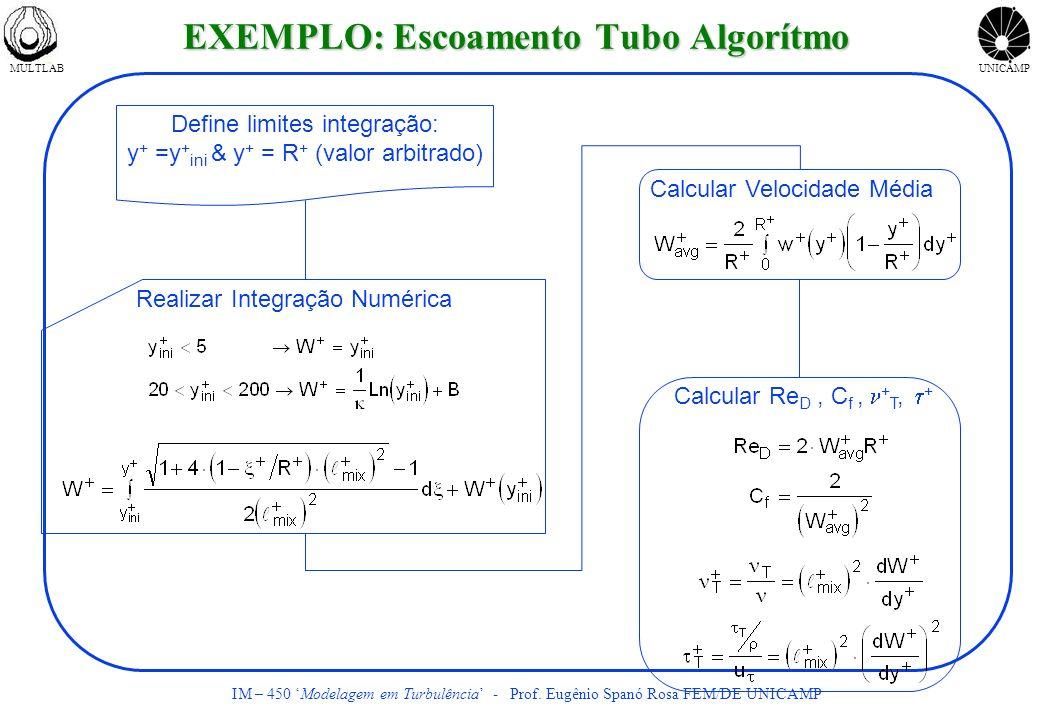 MULTLABUNICAMP IM – 450 Modelagem em Turbulência - Prof. Eugênio Spanó Rosa FEM/DE UNICAMP Define limites integração: y + =y + ini & y + = R + (valor