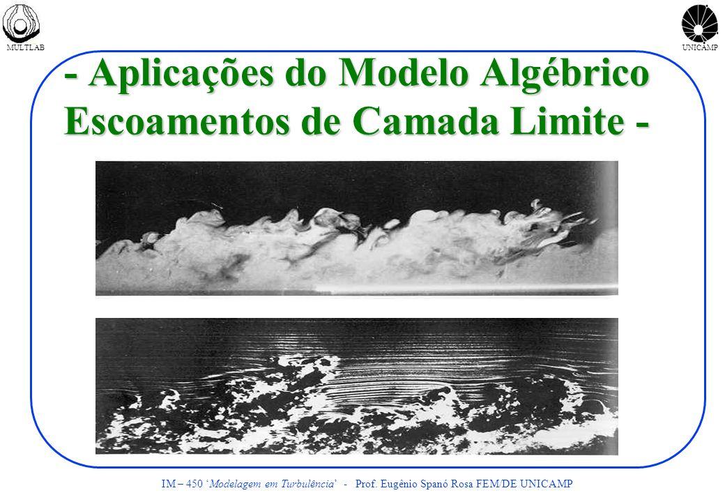 MULTLABUNICAMP IM – 450 Modelagem em Turbulência - Prof. Eugênio Spanó Rosa FEM/DE UNICAMP - Aplicações do Modelo Algébrico Escoamentos de Camada Limi