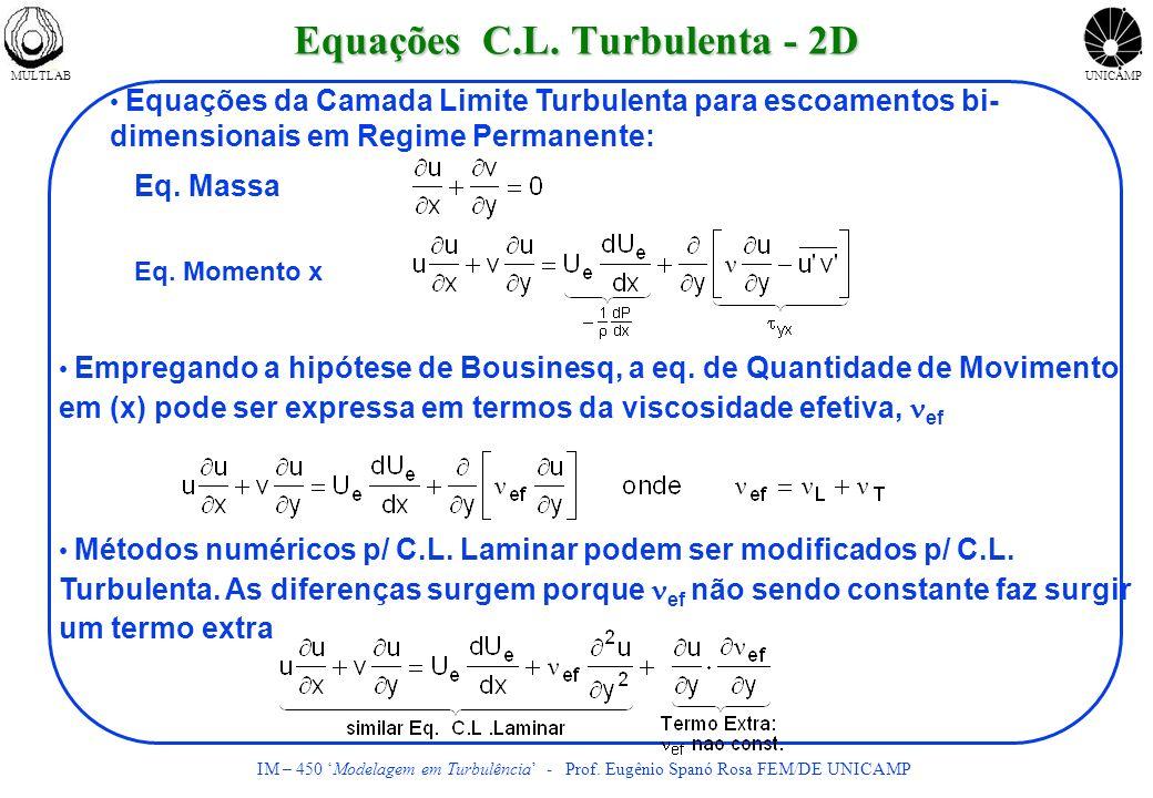 MULTLABUNICAMP IM – 450 Modelagem em Turbulência - Prof. Eugênio Spanó Rosa FEM/DE UNICAMP Equações C.L. Turbulenta - 2D Equações da Camada Limite Tur