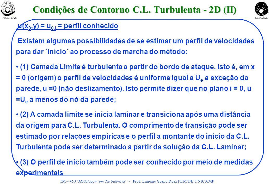 MULTLABUNICAMP IM – 450 Modelagem em Turbulência - Prof. Eugênio Spanó Rosa FEM/DE UNICAMP u(x 0,y) = u 0,j = perfil conhecido Existem algumas possibi