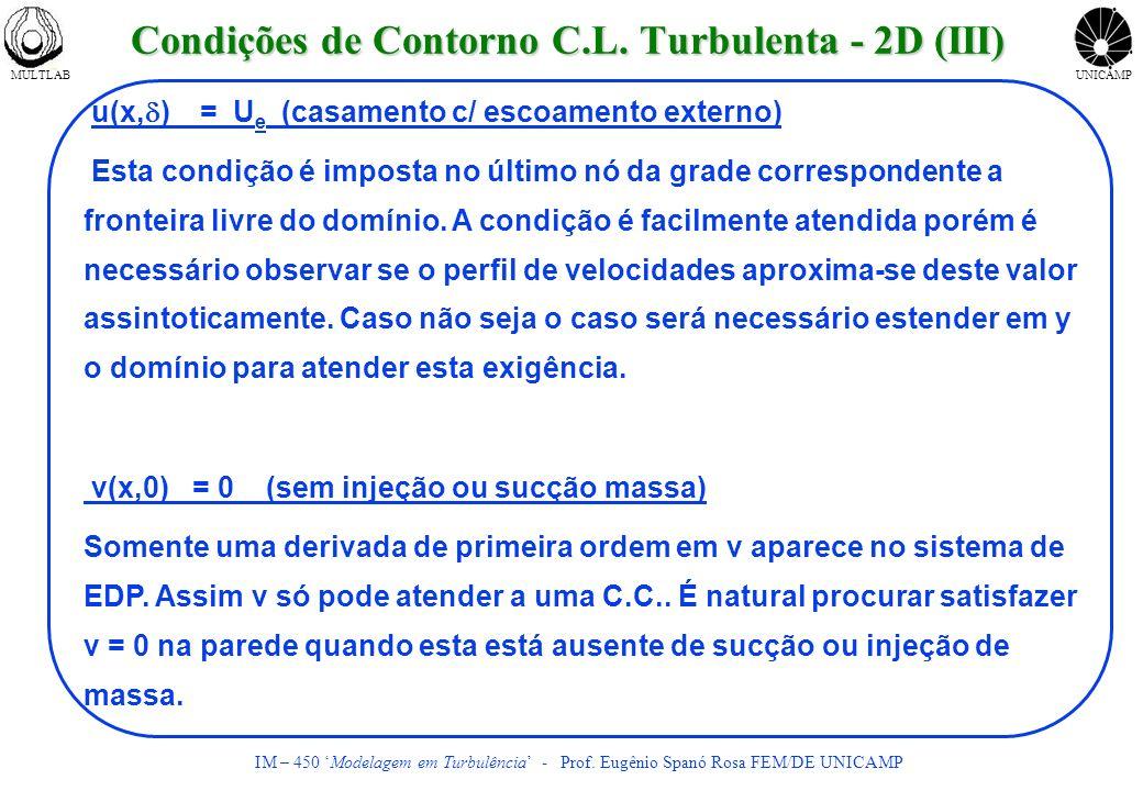 MULTLABUNICAMP IM – 450 Modelagem em Turbulência - Prof. Eugênio Spanó Rosa FEM/DE UNICAMP u(x, ) = U e (casamento c/ escoamento externo) Esta condiçã