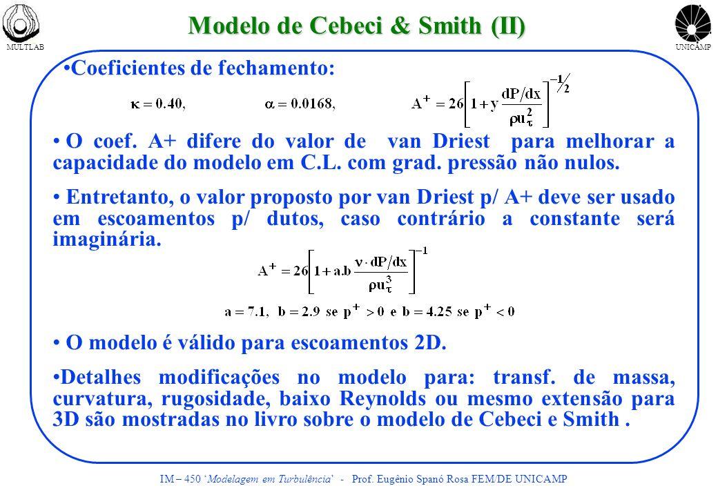 MULTLABUNICAMP IM – 450 Modelagem em Turbulência - Prof. Eugênio Spanó Rosa FEM/DE UNICAMP Modelo de Cebeci & Smith (II) Coeficientes de fechamento: O