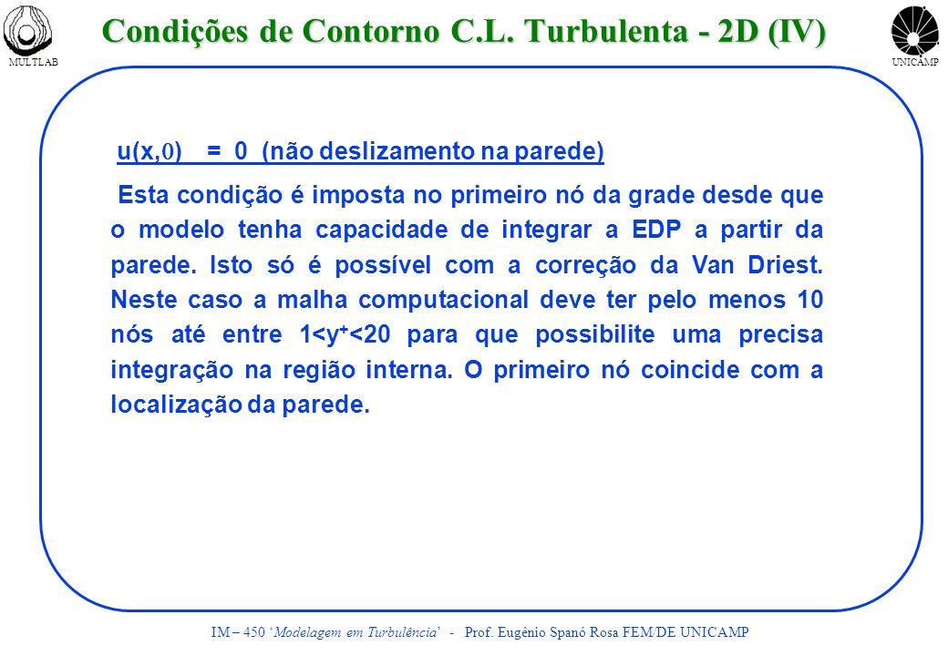 MULTLABUNICAMP IM – 450 Modelagem em Turbulência - Prof. Eugênio Spanó Rosa FEM/DE UNICAMP u(x, ) = 0 (não deslizamento na parede) Esta condição é imp