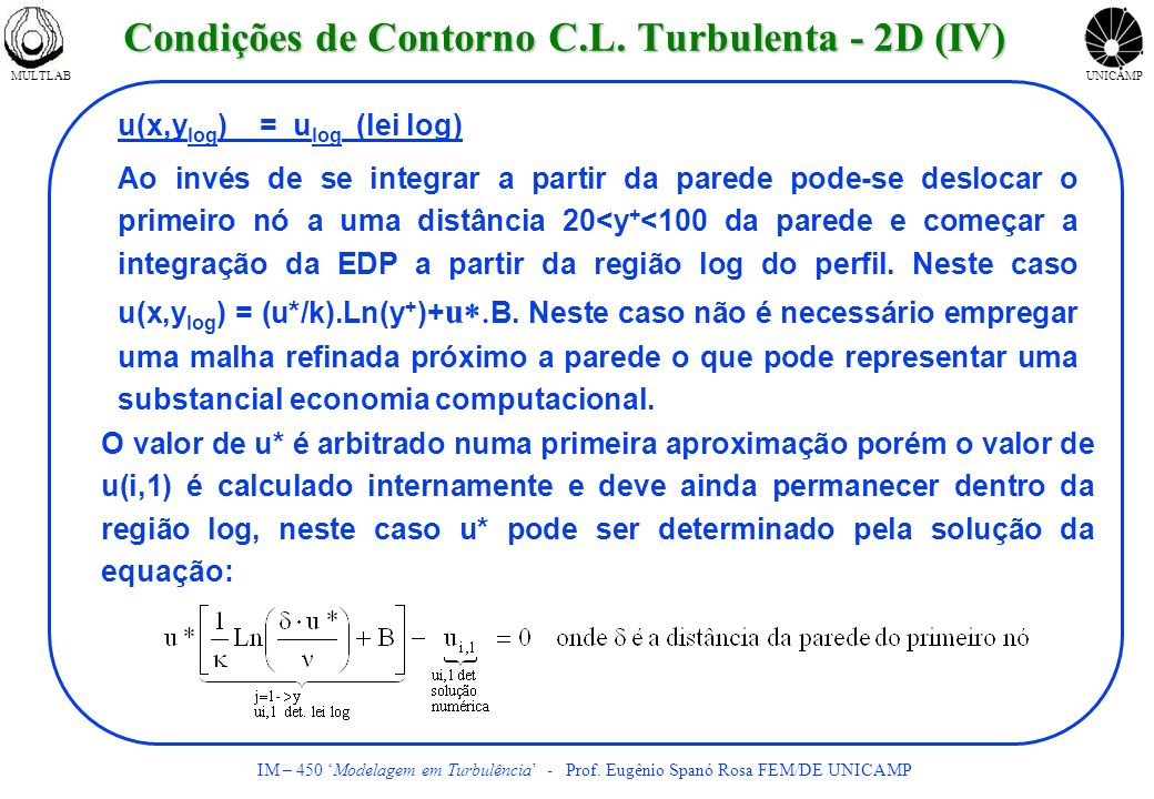 MULTLABUNICAMP IM – 450 Modelagem em Turbulência - Prof. Eugênio Spanó Rosa FEM/DE UNICAMP O valor de u* é arbitrado numa primeira aproximação porém o