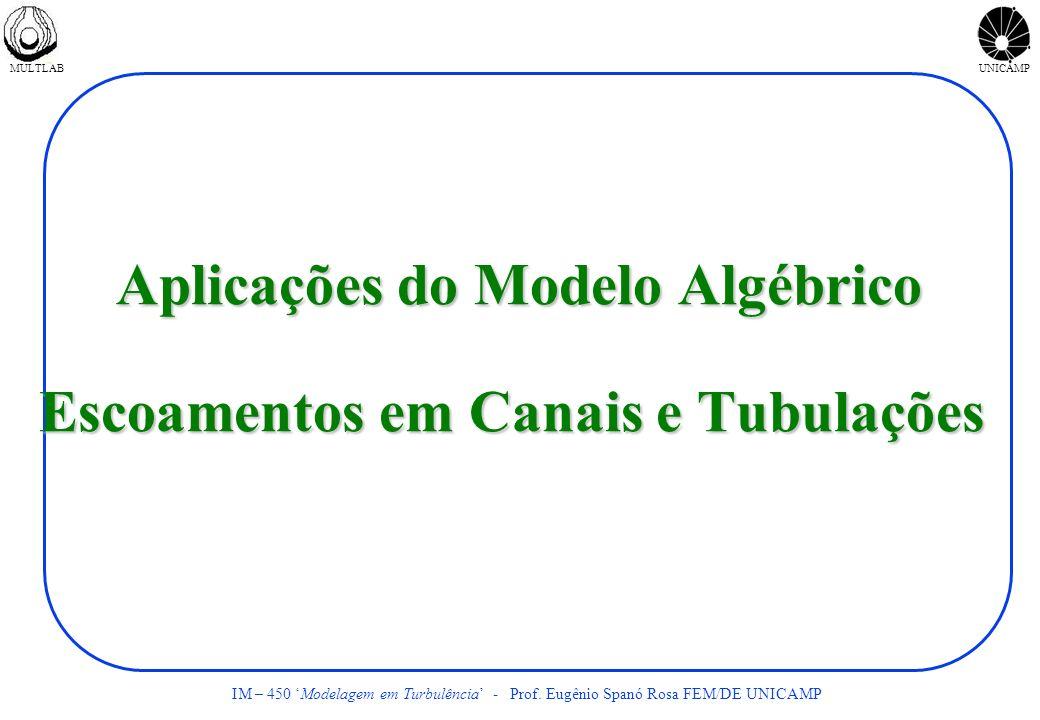 MULTLABUNICAMP IM – 450 Modelagem em Turbulência - Prof. Eugênio Spanó Rosa FEM/DE UNICAMP Aplicações do Modelo Algébrico Escoamentos em Canais e Tubu