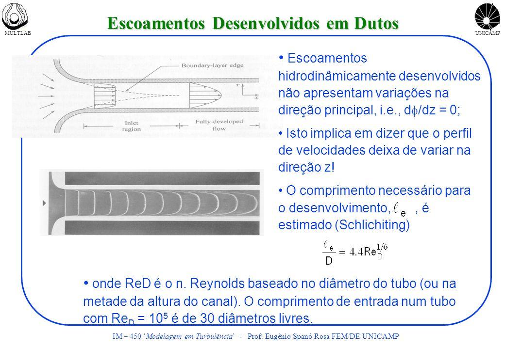 MULTLABUNICAMP IM – 450 Modelagem em Turbulência - Prof. Eugênio Spanó Rosa FEM/DE UNICAMP Escoamentos Desenvolvidos em Dutos Escoamentos hidrodinâmic