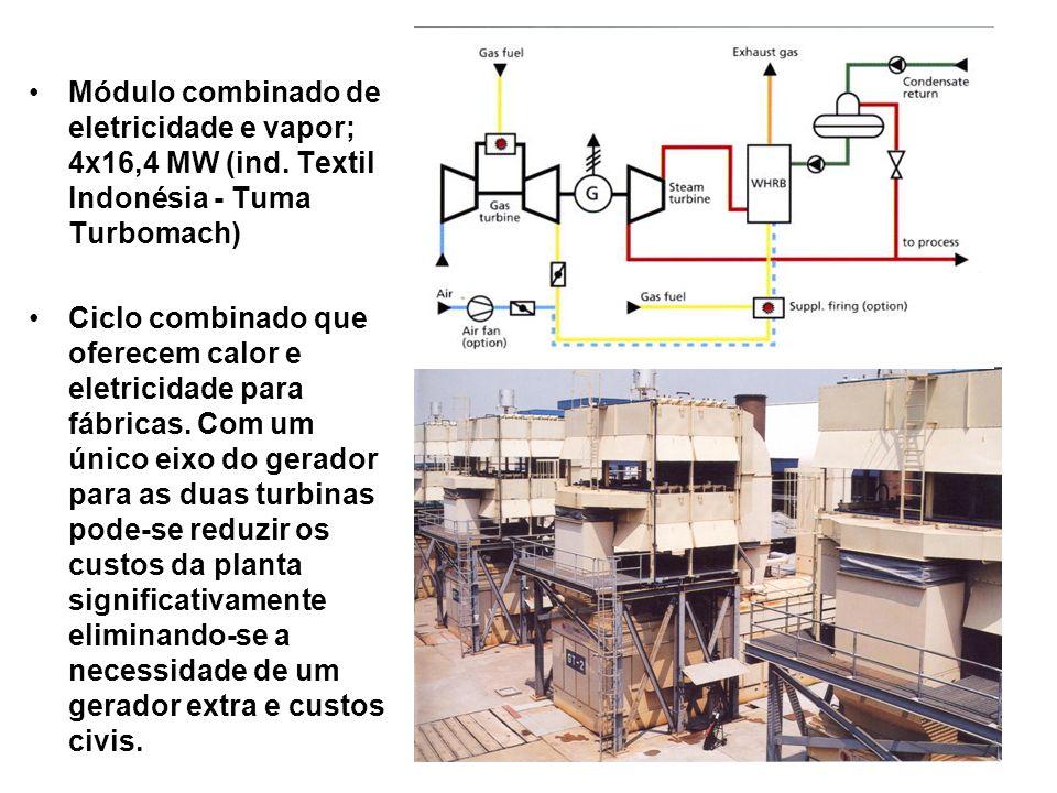 Módulo combinado de eletricidade e vapor; 4x16,4 MW (ind. Textil Indonésia - Tuma Turbomach) Ciclo combinado que oferecem calor e eletricidade para fá