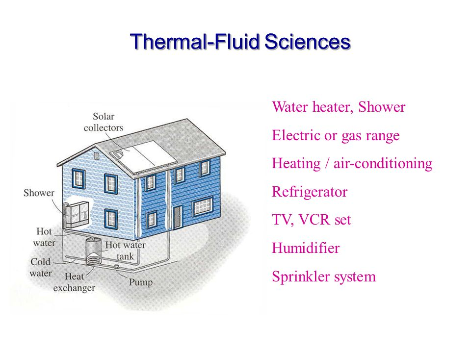 Thermal-Fluid Sciences Water heater, Shower Electric or gas range Heating / air-conditioning Refrigerator TV, VCR set Humidifier Sprinkler system
