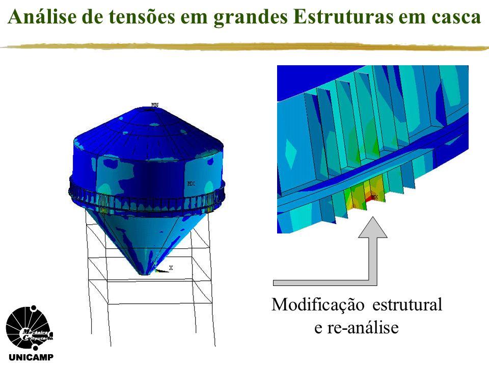 Análise de tensões em grandes Estruturas em casca Modificação estrutural e re-análise