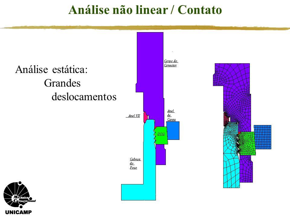 Análise estática: Grandes deslocamentos Análise não linear / Contato