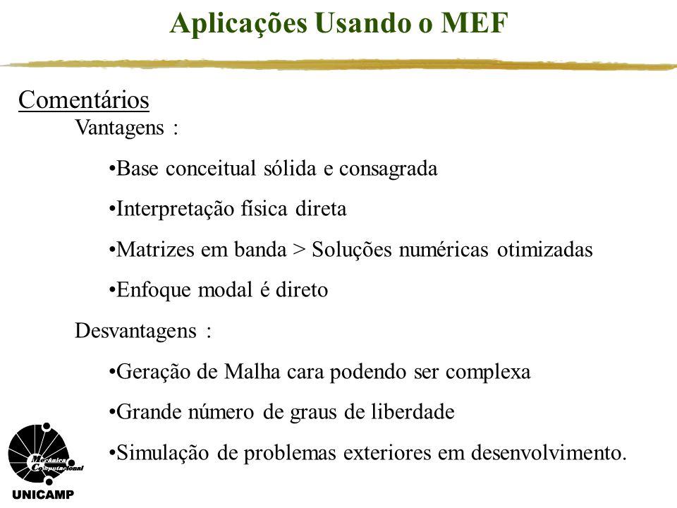 Comentários Aplicações Usando o MEF Vantagens : Base conceitual sólida e consagrada Interpretação física direta Matrizes em banda > Soluções numéricas