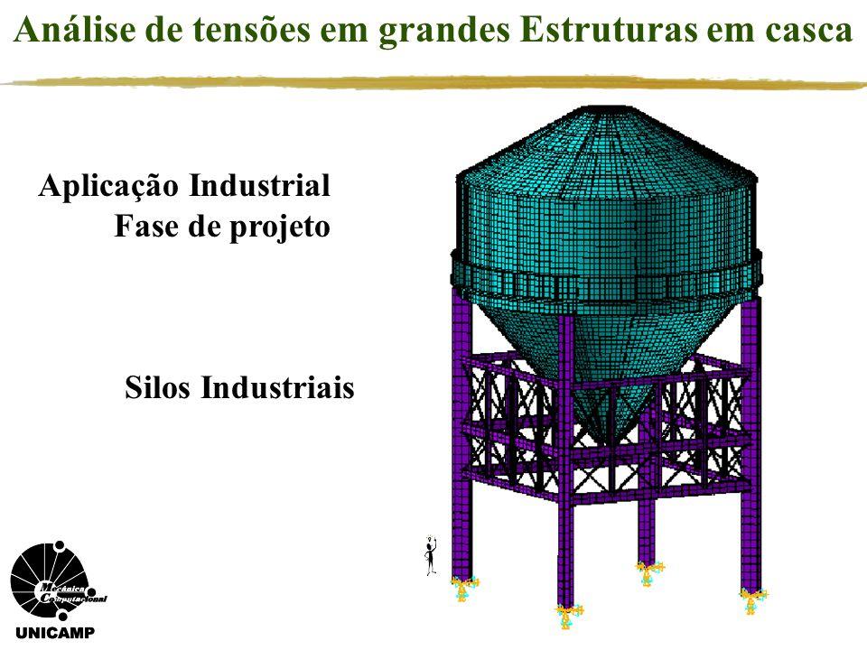 Aplicação Industrial Fase de projeto Análise de tensões em grandes Estruturas em casca Silos Industriais