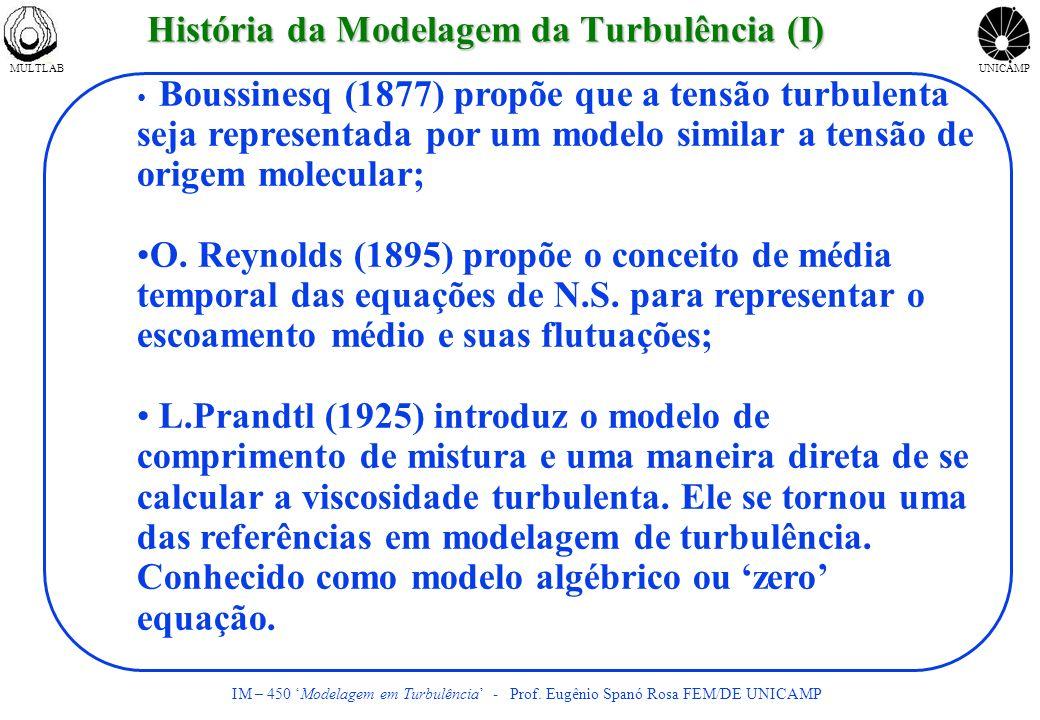 MULTLABUNICAMP IM – 450 Modelagem em Turbulência - Prof. Eugênio Spanó Rosa FEM/DE UNICAMP História da Modelagem da Turbulência (I) Boussinesq (1877)