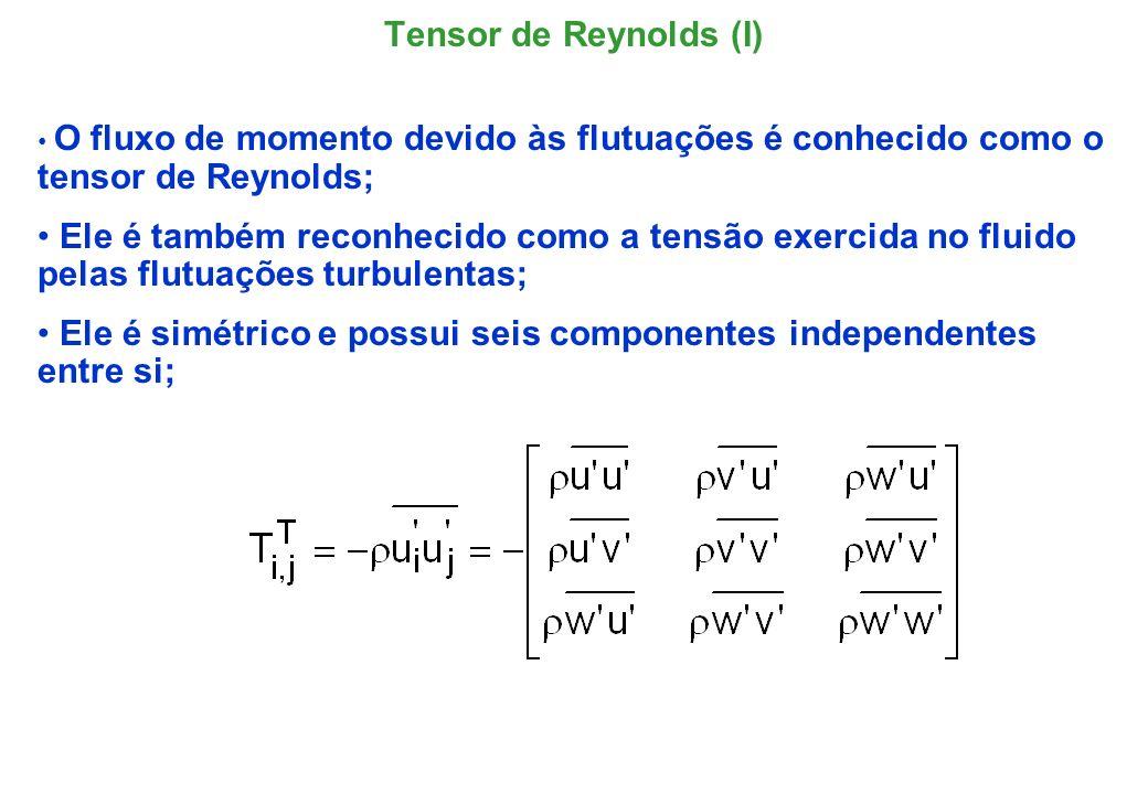 A soma dos elementos da diagonal principal é a energia cinética turbulenta específica, (energia por unidade massa), freqüentemente denominada por energia cinética somente; Por conveniência, a correlação de velocidades passará a ser expressa por: Tensor de Reynolds (I)
