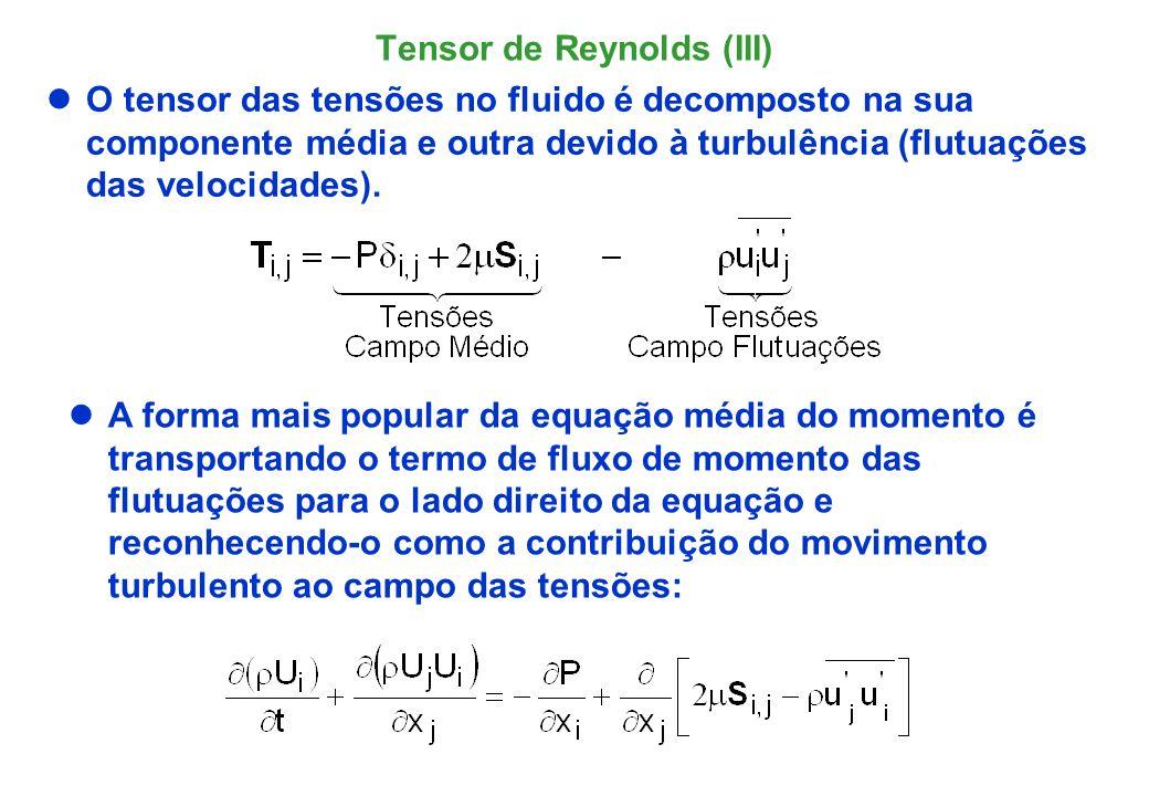 Tensor de Reynolds (III) O tensor de Reynolds introduz mais 6 variáveis além de (U,V,W e P).