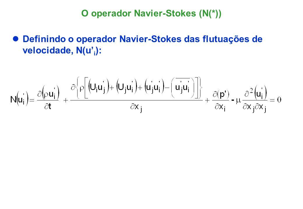Equação das Tensões de Reynolds (I) Equação de transporte para o tensor de Reynolds, i,j, por meio da média temporal do produto entre o operador Navier- Stokes e a com a flutuação de velocidade A operação é detalhada termo a termo a seguir.