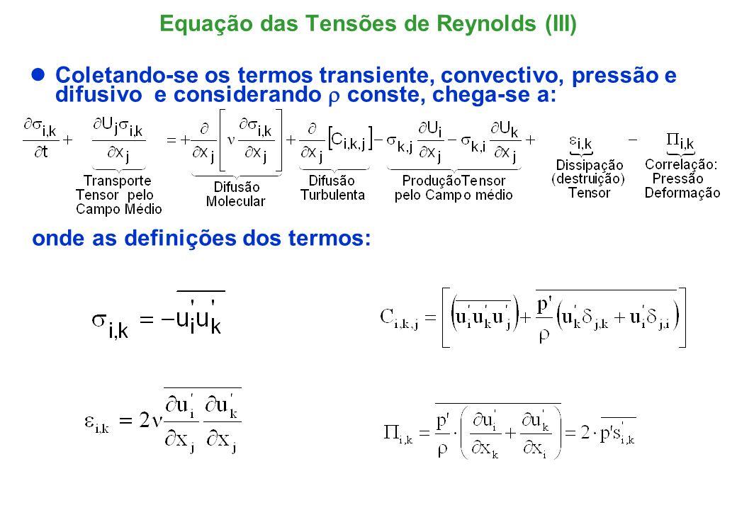 Equação das Tensões de Reynolds (IV) A equação do tensor de Reynolds possui (6) componentes, uma para cada tensor; Apesar de se ter criado 6 novas equações, foram também geradas 22 novas incógnitas: