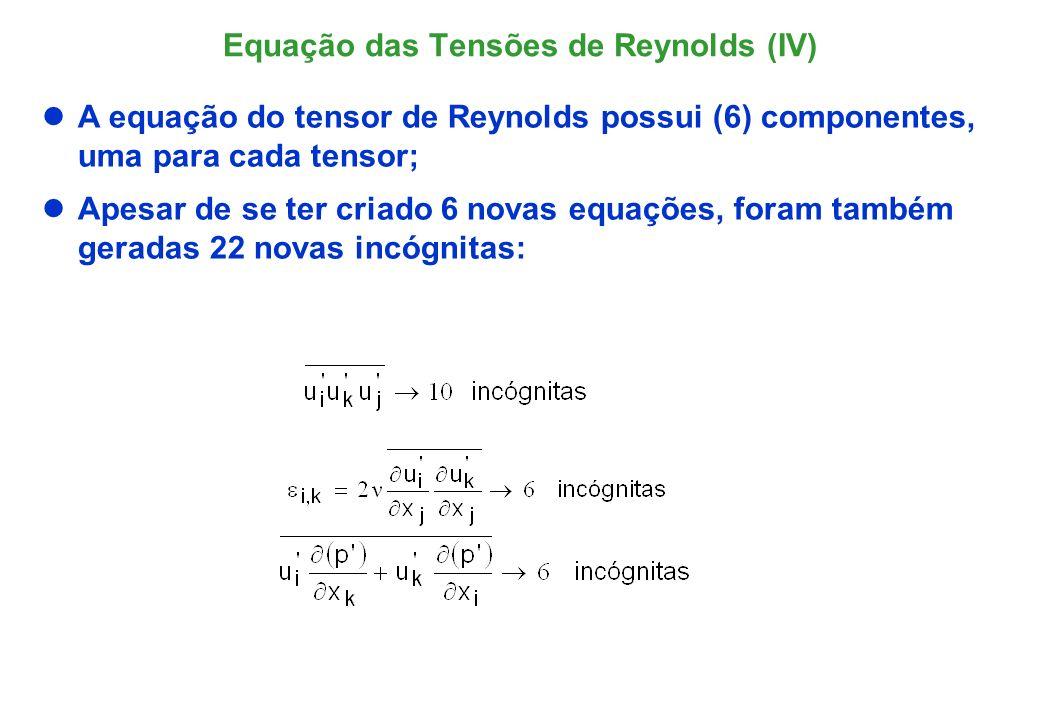 Equação das Tensões de Reynods (V) Devido a não-linearidade da Eq.