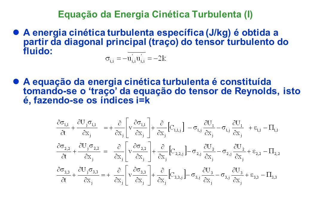 Somando-se e contraindo-se as três equações chega ao transporte da energia cinética turbulenta: Equação da Energia Cinética Turbulenta (II)