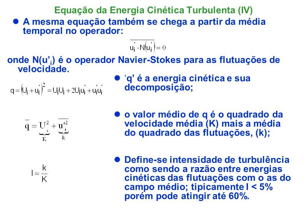 Expressões para o termo de Dissipação, I A quantidade, expressa a taxa de dissipação de energia por unidade de massa por unidade de tempo.