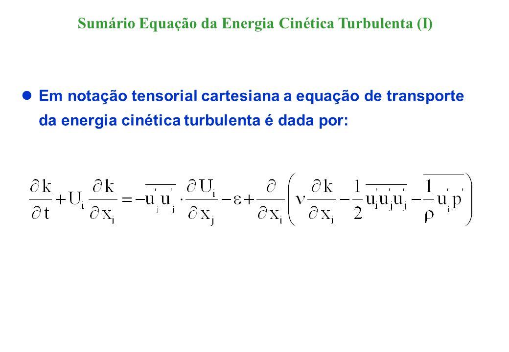 Dado que o tensor de Reynolds é simétrico, o termo de produção também pode ser expresso pelo produto dele com o tensor médio da deformação : A função dissipação, coincide com a dissipação real do fluido somente para escoamentos isotrópicos; e portanto ela também é batizada por dissipação isotrópica, Sumário Equação da Energia Cinética Turbulenta (II)