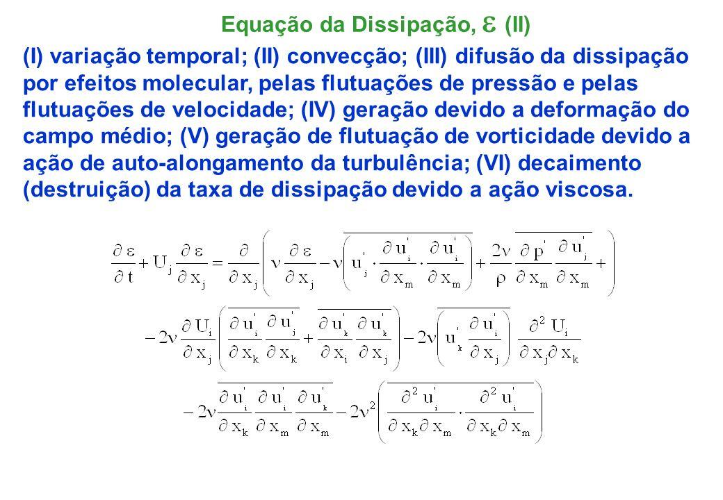 A equação da dissipação é muito mais complexa que a equação da energia cinética turbulenta; Ela envolve diversas novas e desconhecidas correlações duplas e triplas das flutuações de velocidade, pressão e gradiente de velocidade.