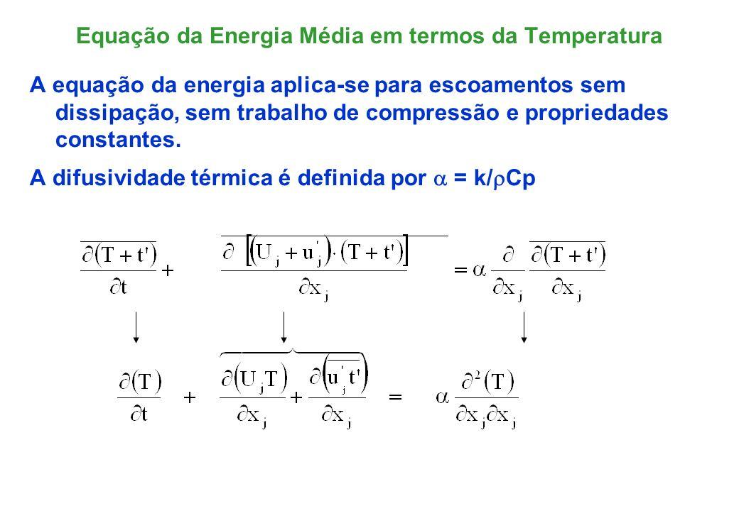 Fluxo de Calor Turbulento, q A média temporal do produto entre a flutuação de velocidade e de temperatura pode ser interpretado como um fluxo de calor transportado pelo campo médio.