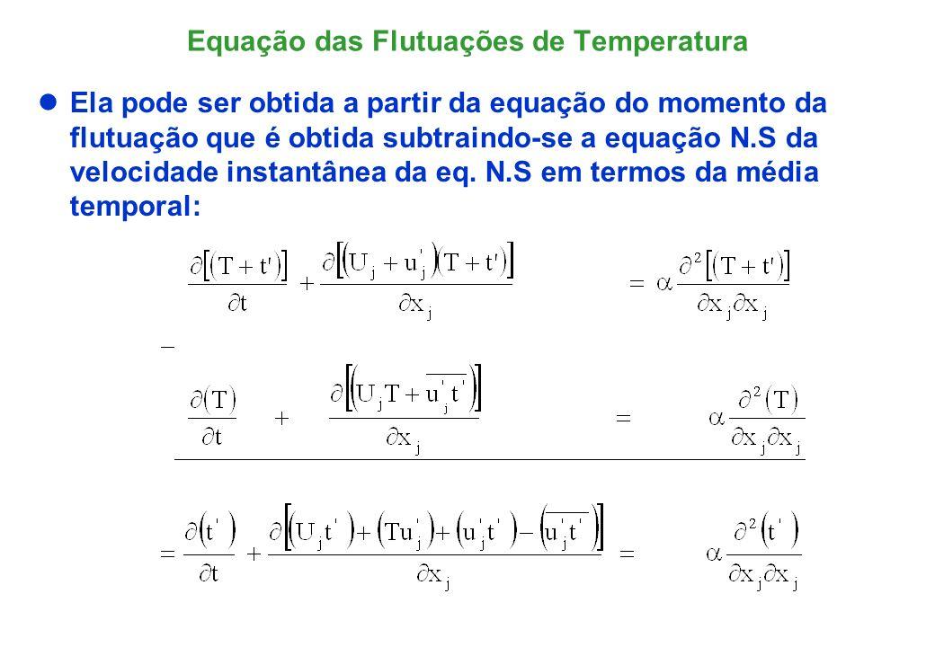 O operador da Equação da Energia E(*) Relembrando o operador Navier-Stokes das flutuações de velocidade, N(u i ): Definindo o operador da equação da energia para as flutuações de temperatura, E(t):