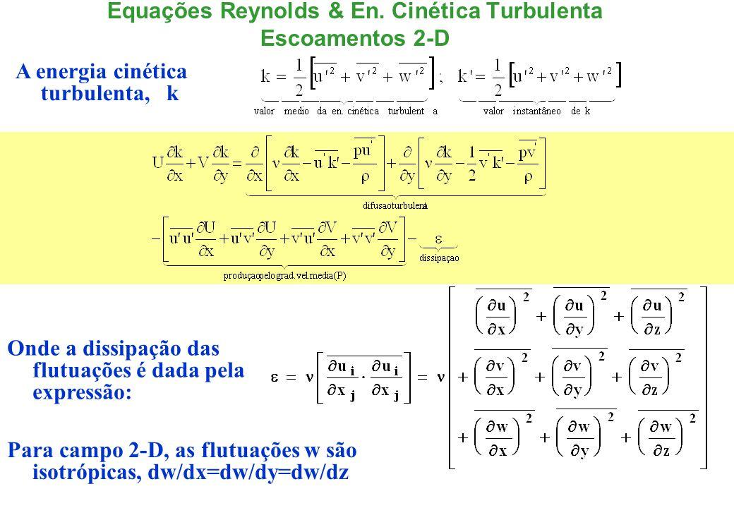 Equações para um Canal/Tubo x y Nota-se que estas equações só podem ser resolvidas se for provido equações constitutivas para o tensor de Reynolds Este problema é referido como problema de ´fechamento´em turbulência.