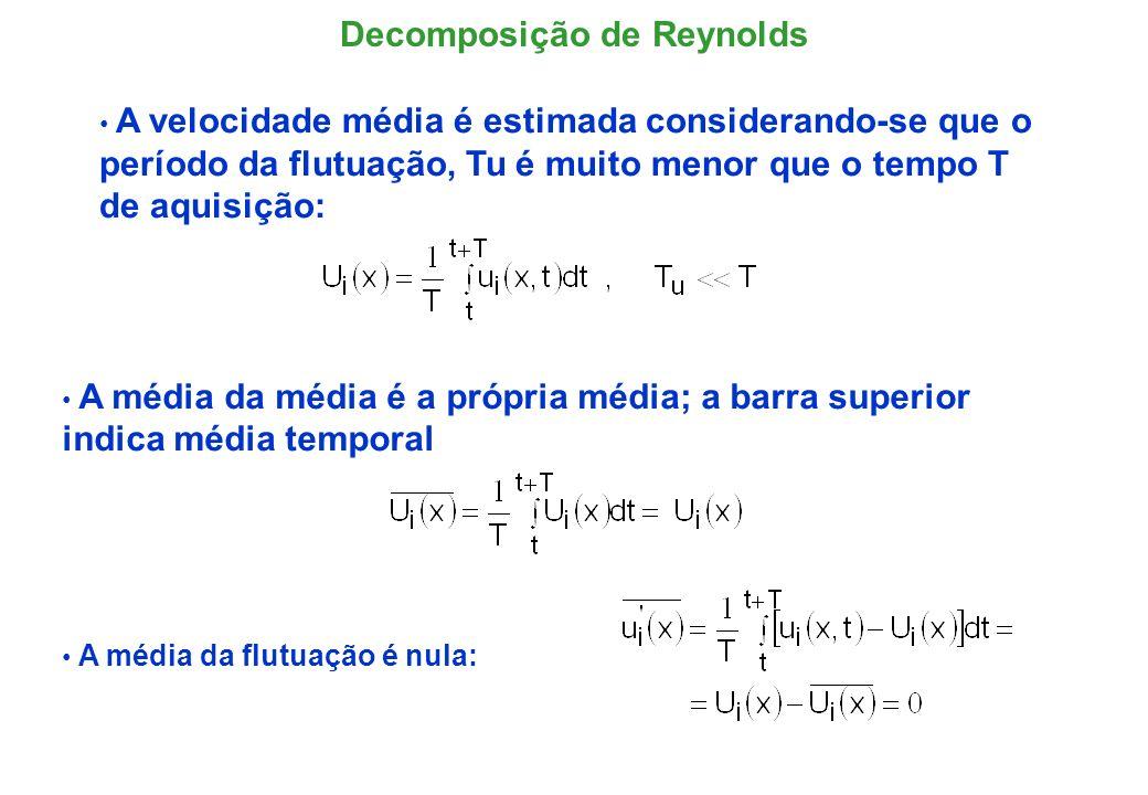 O processo de média de Reynolds sobre operações envolvendo as variáveis instantâneas é decorrente das definições da média: Propriedades da Média de Reynolds