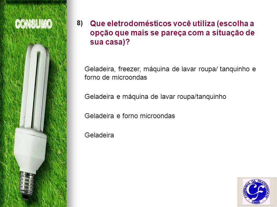 8) Que eletrodomésticos você utiliza (escolha a opção que mais se pareça com a situação de sua casa).