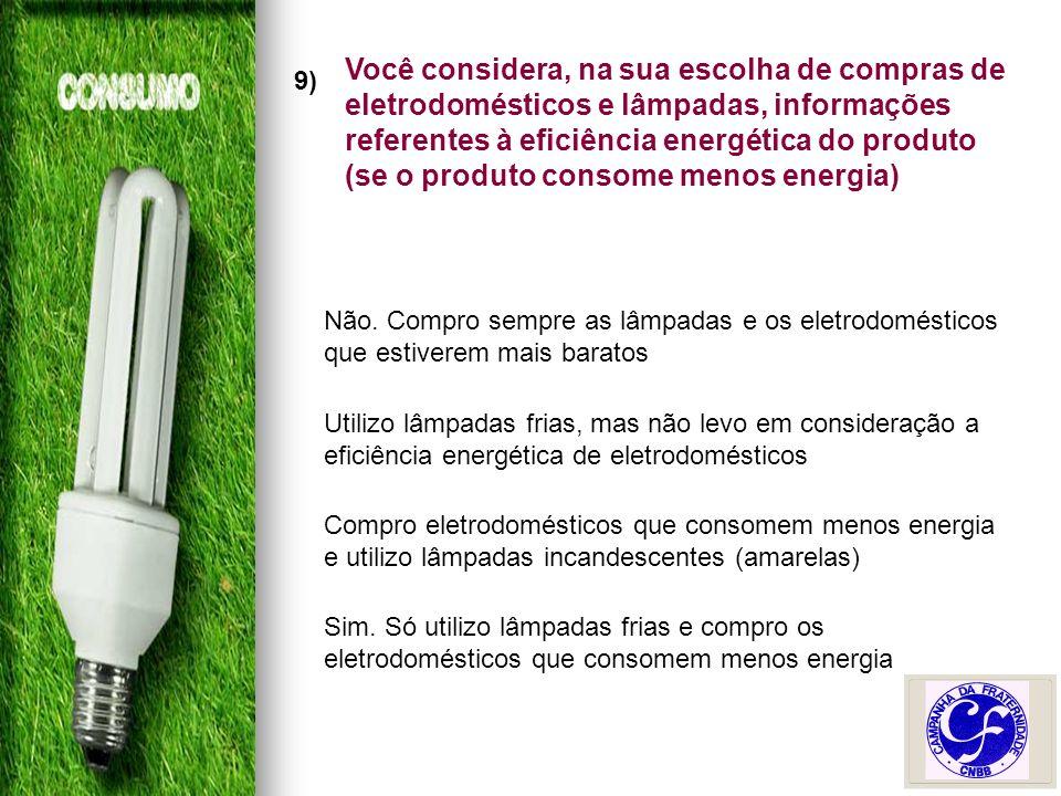 9) Você considera, na sua escolha de compras de eletrodomésticos e lâmpadas, informações referentes à eficiência energética do produto (se o produto consome menos energia) Não.