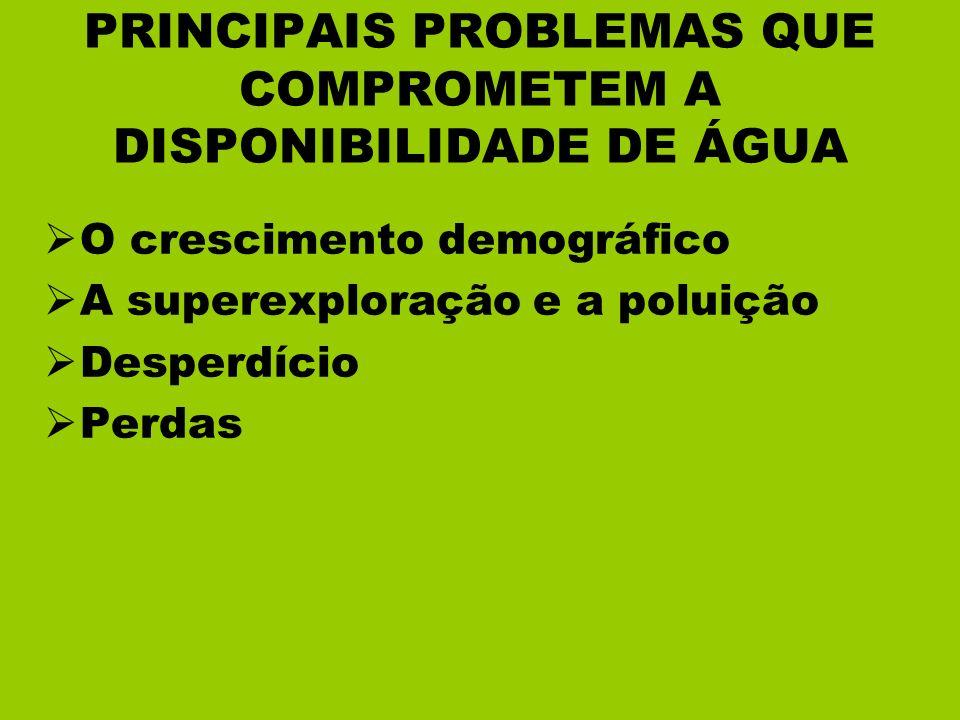 PRINCIPAIS PROBLEMAS QUE COMPROMETEM A DISPONIBILIDADE DE ÁGUA O crescimento demográfico A superexploração e a poluição Desperdício Perdas