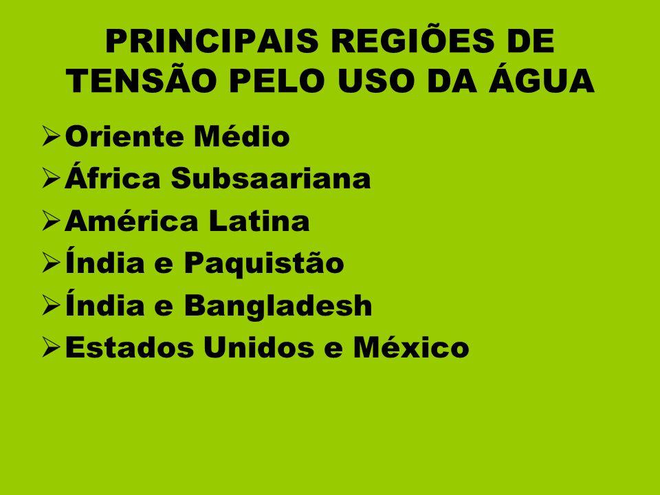 PRINCIPAIS REGIÕES DE TENSÃO PELO USO DA ÁGUA Oriente Médio África Subsaariana América Latina Índia e Paquistão Índia e Bangladesh Estados Unidos e Mé