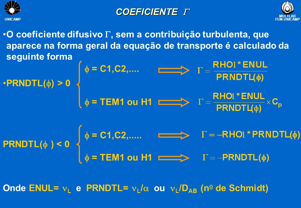 MULTLAB FEM-UNICAMP UNICAMP EXEMPLO DE APLICAÇÃO (H1) Objetivos: Objetivos: investigar como é formado o coeficiente na equação da entalpia e obter o campo de temperaturas Condução 1-D numa parede plana (20 pontos) 5 W/m 2 H=0 Verificar a utilização de PRNDTL >0 e <0 para especificar