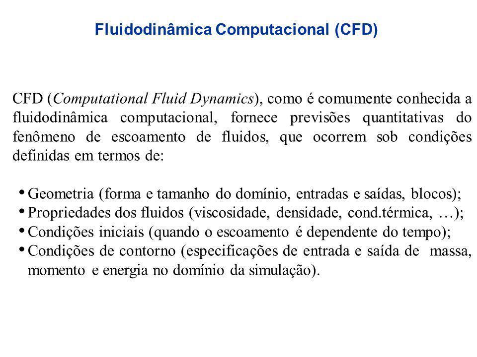 Fluidodinâmica Computacional (CFD) CFD (Computational Fluid Dynamics), como é comumente conhecida a fluidodinâmica computacional, fornece previsões qu