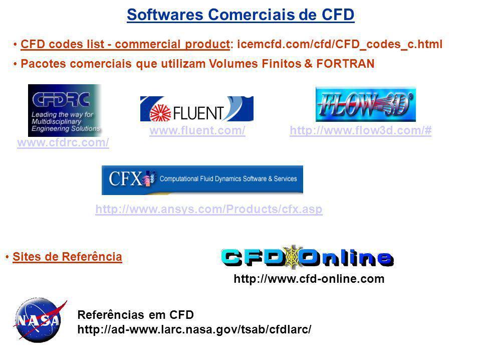 Softwares Comerciais de CFD www.fluent.com/ www.cfdrc.com/ Referências em CFD http://ad-www.larc.nasa.gov/tsab/cfdlarc/ http://www.flow3d.com/# CFD co